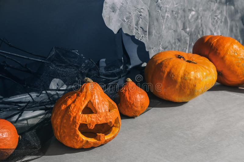 Pumpkins for Halloween party on light floor royalty free stock images