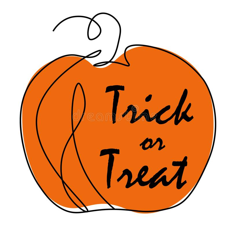 Pumpkins halloween trick or treat isolated on white background, vector royalty free illustration