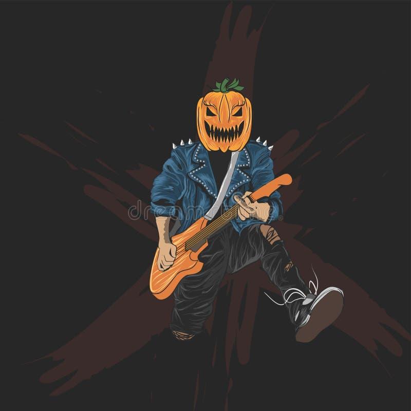 Halloween pumpkins head rocker for halloween poster, banner and t shirt design vector illustration