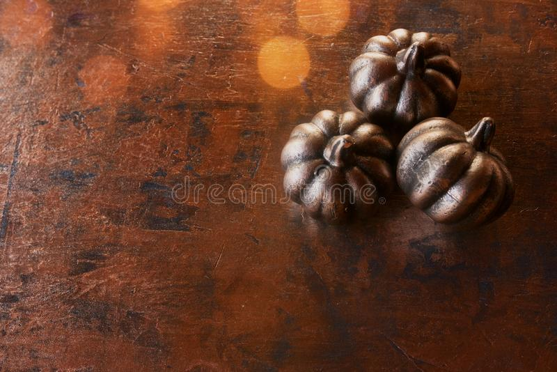 Pumpkin on illuminated metallic background stock image