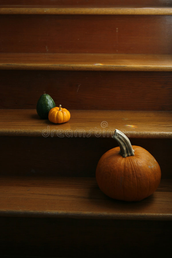 Free Pumpkins On Staircase Royalty Free Stock Image - 6854666