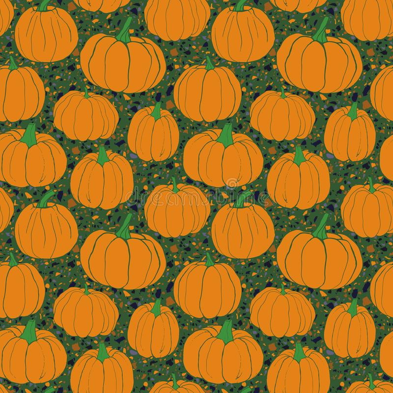 Pumpkins pattern with terrazzo background- green version. Autumn seamless vector pattern with hand drawn pumpkins. royalty free illustration