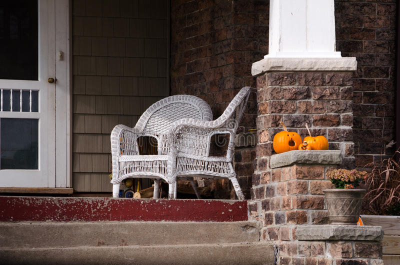 Pumpkins and porch stock photography