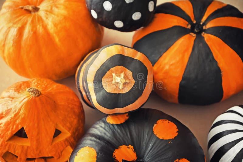 Pumpkins prepared for Halloween party on floor stock photo