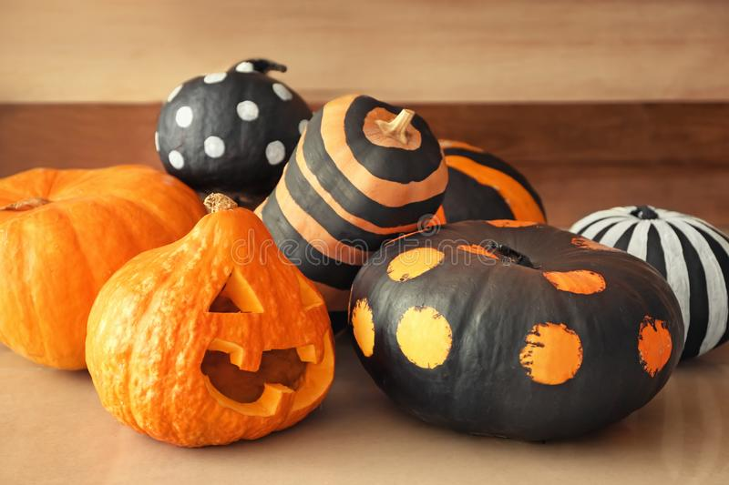 Pumpkins prepared for Halloween party on floor stock photography
