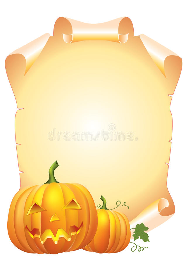 Pumpkins and scroll stock photography