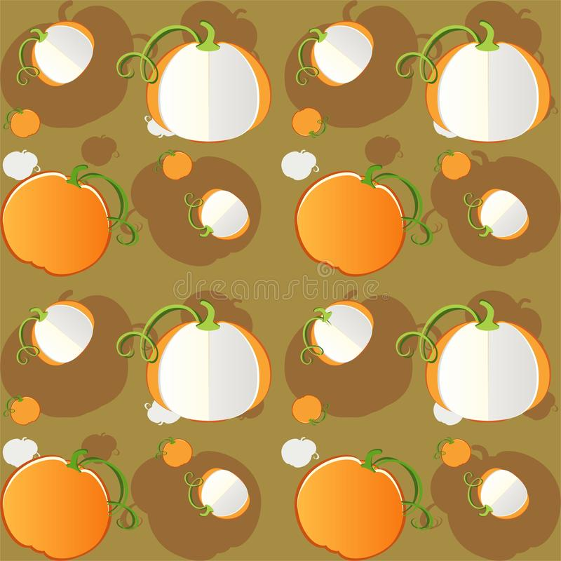 Pumpkins seamless pattern - vector. Background Eps file available. Useful also as design element for gift wrapping royalty free illustration