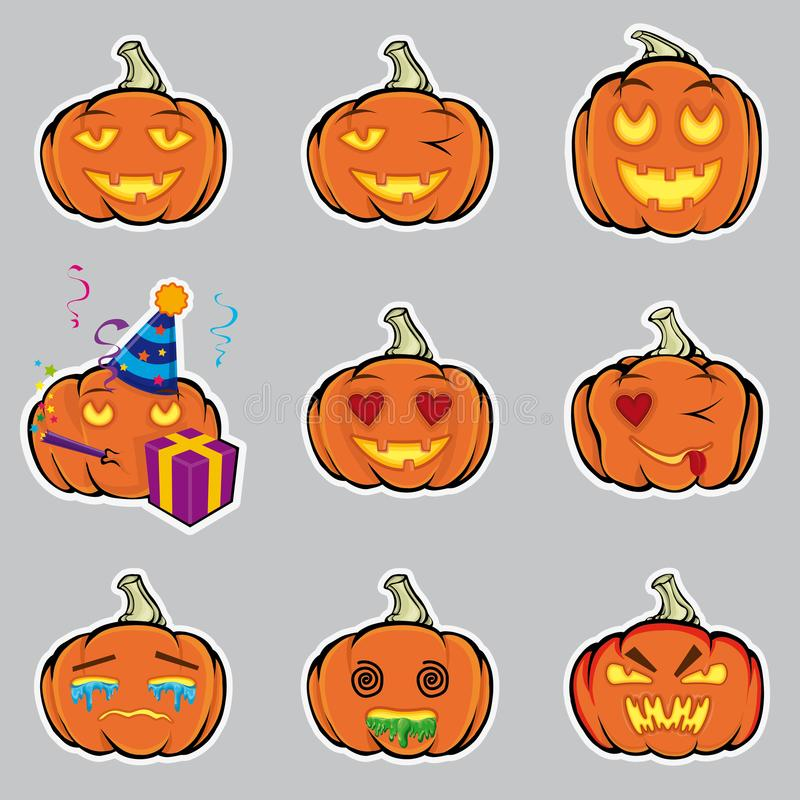 Pumpkins. A set of emotional smiles to Halloween. royalty free illustration