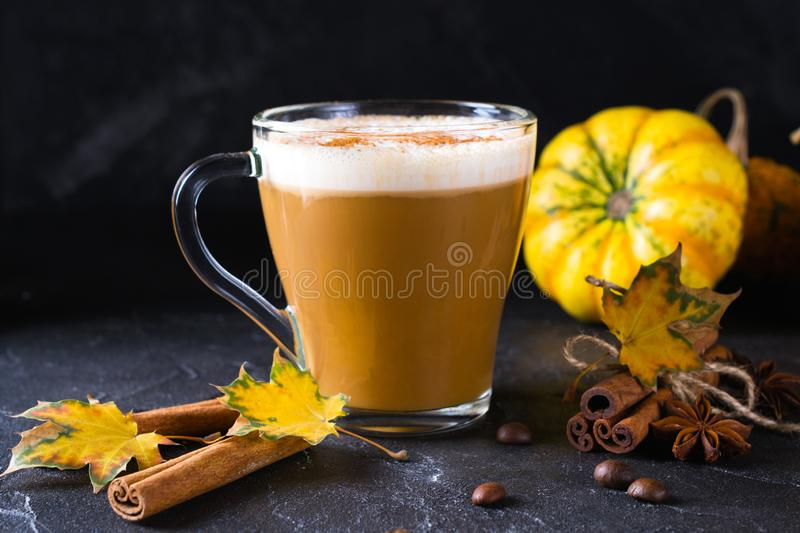 Pumpkins spice latte with pumpkins Pumpkin latte - cozy drink for cold fall or winter. On dark royalty free stock photos
