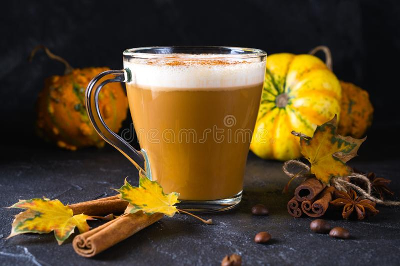 Pumpkins spice latte with pumpkins Pumpkin latte - cozy drink for cold fall or winter. On dark royalty free stock photography