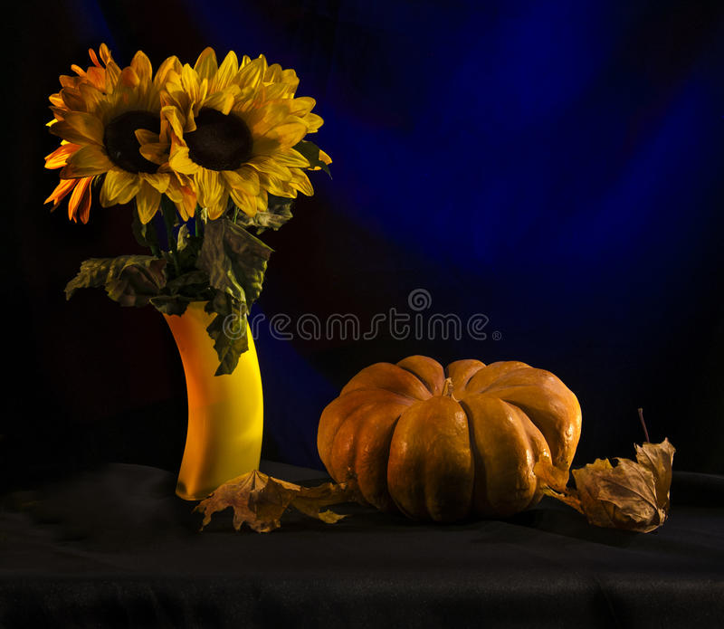 The pumpkins and sunflowers stock photos