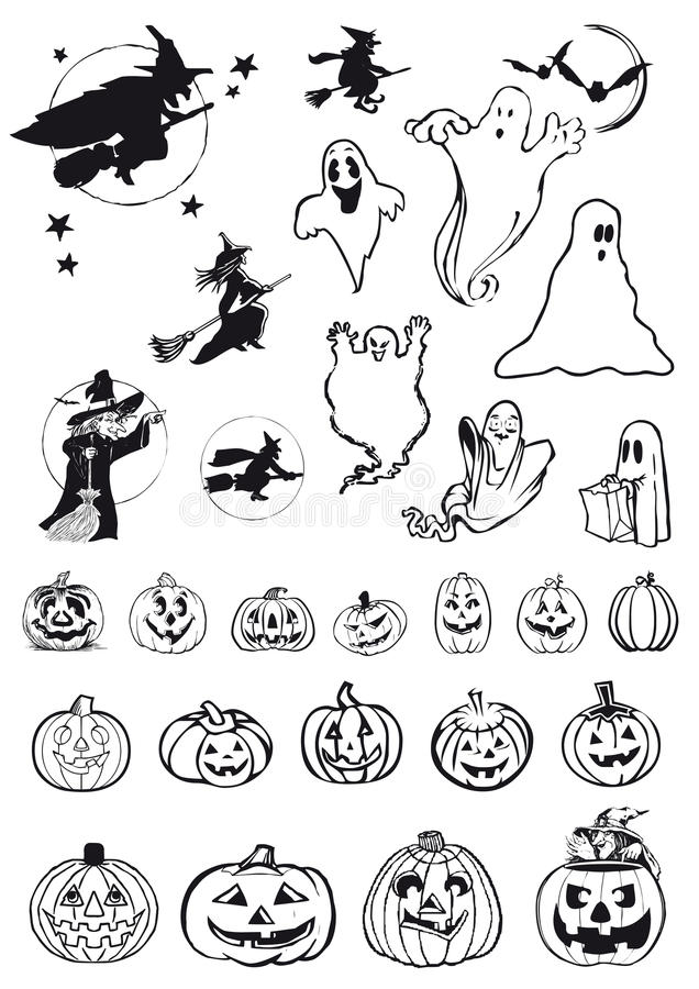 Download Pumpkins, Witches And Ghosts - Halloween Icons Stock Vector - Image: 21654796