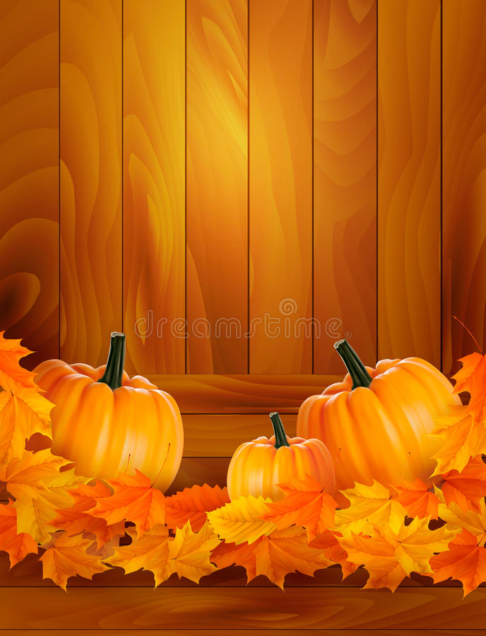 Download Pumpkins On Wooden Background With Leaves Stock Vector - Image: 26578679