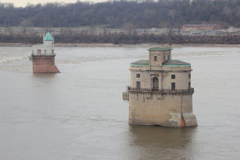 Pumpstation des Fluss Mississipi stockbilder