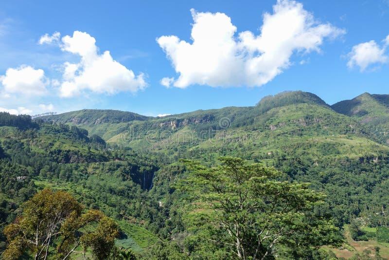 Puna瀑布看法在中央省,斯里兰卡 库存图片
