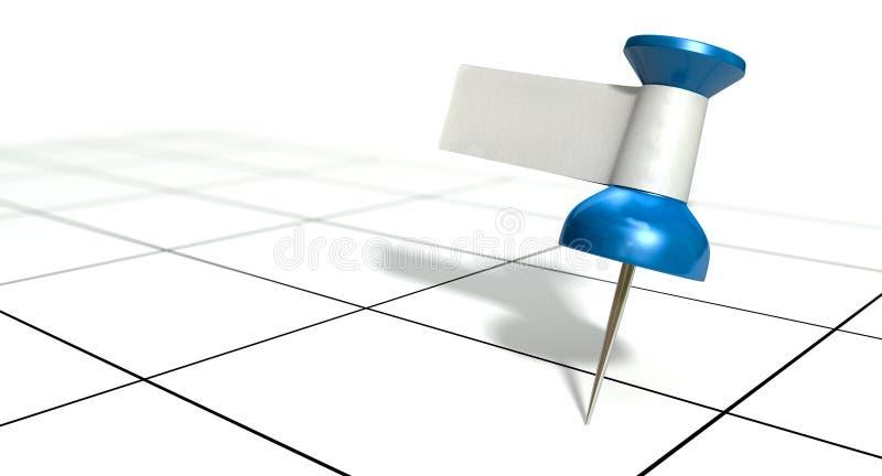 Punaise avec le label vide sur le calendrier générique illustration de vecteur