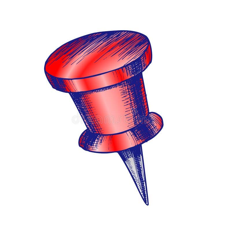 Punaise de papeterie de couleur avec le vecteur supérieur de forme de cylindre illustration libre de droits