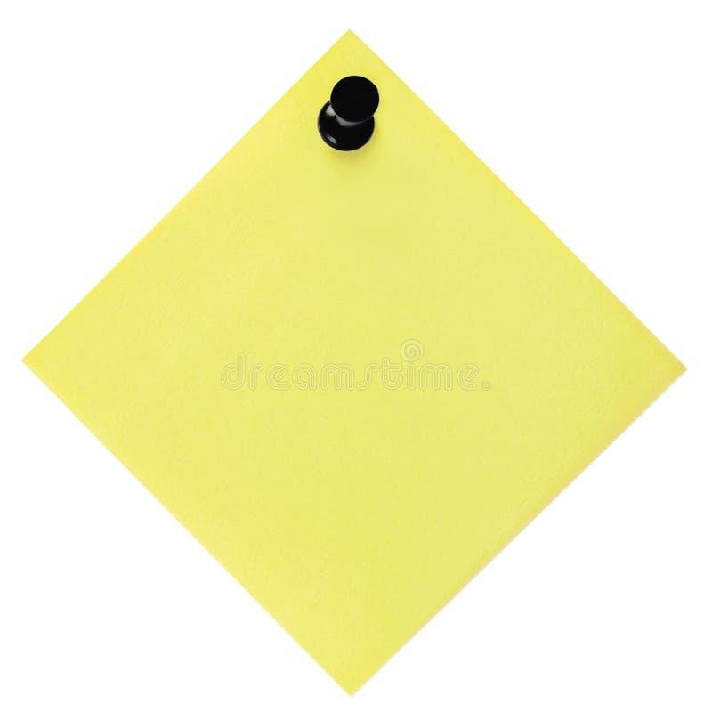 Punaise jaune vide vide de punaise de liste et de noir de rappel, autocollant collant d'isolement de note de style de post-it, le photographie stock libre de droits