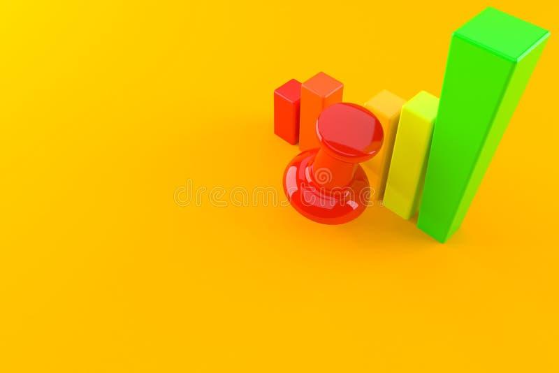 Punaise met grafiek stock illustratie