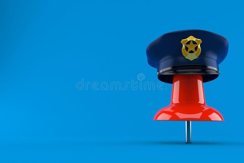 Punaise met politiehoed stock illustratie