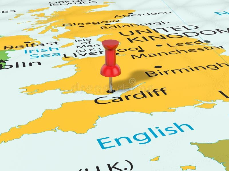 Punaise op de kaart van Cardiff vector illustratie