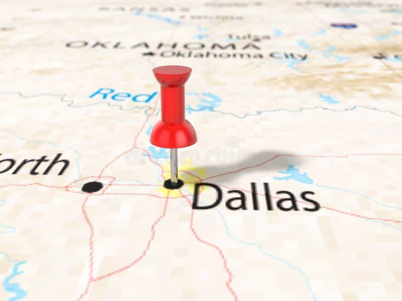 Punaise op de kaart van Dallas vector illustratie