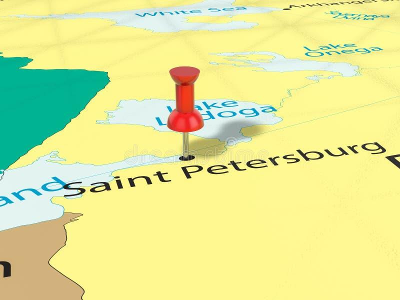 Punaise op de kaart van Heilige Petersburg vector illustratie
