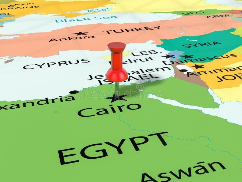 Punaise op de kaart van Kaïro stock illustratie