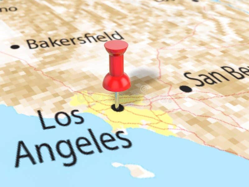 Punaise op de kaart van Los Angeles royalty-vrije illustratie