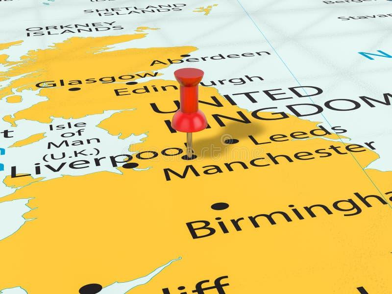 Punaise op de kaart van Manchester vector illustratie