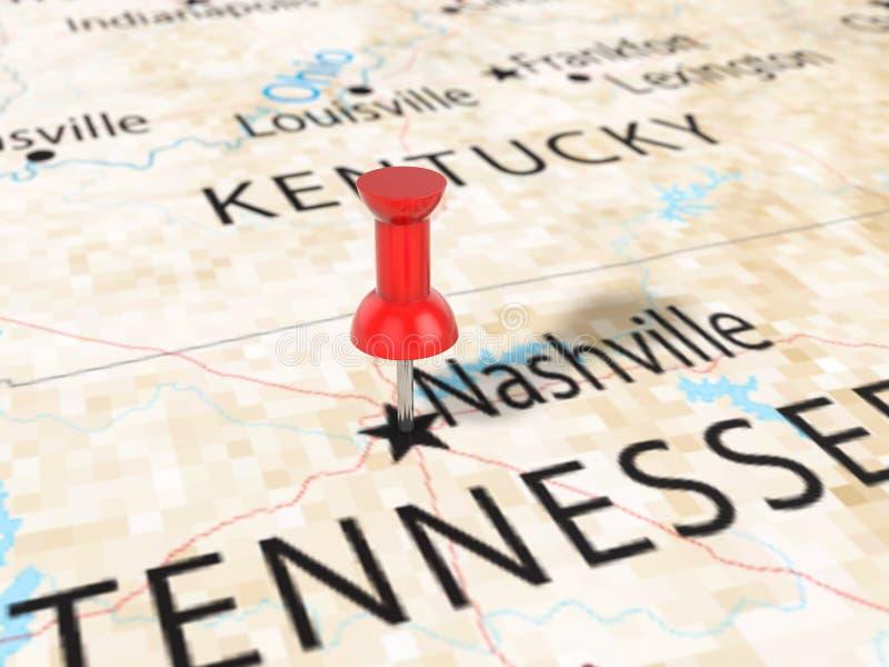 Punaise op de kaart van Nashville royalty-vrije illustratie