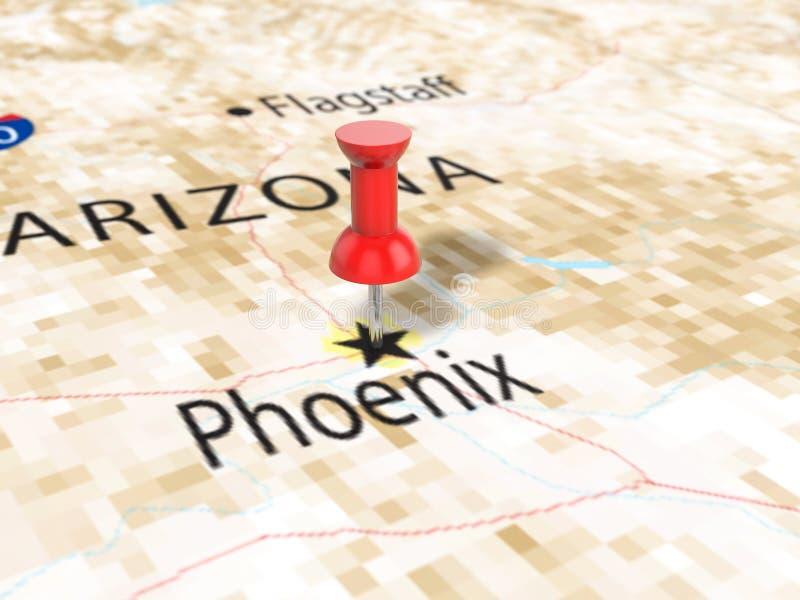 Punaise op de kaart van Phoenix vector illustratie