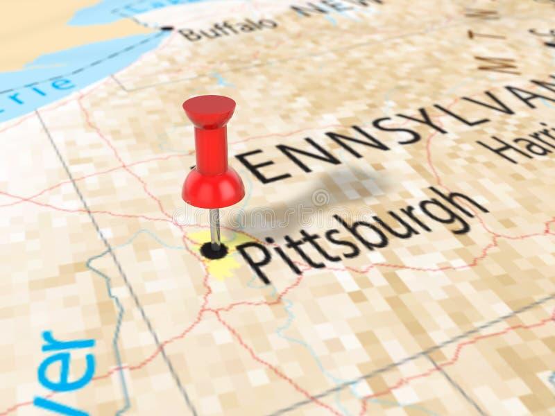 Punaise op de kaart van Pittsburgh royalty-vrije illustratie