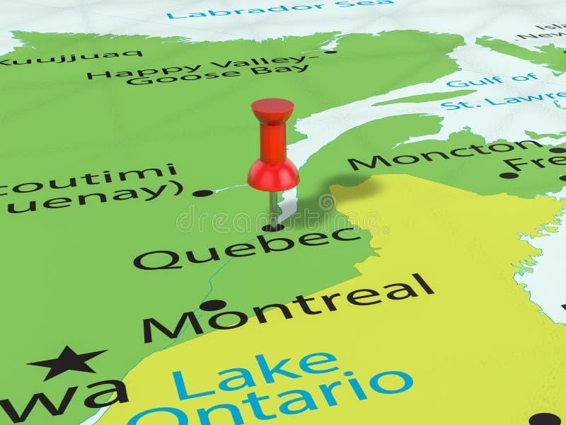 Punaise op de kaart van Quebec vector illustratie