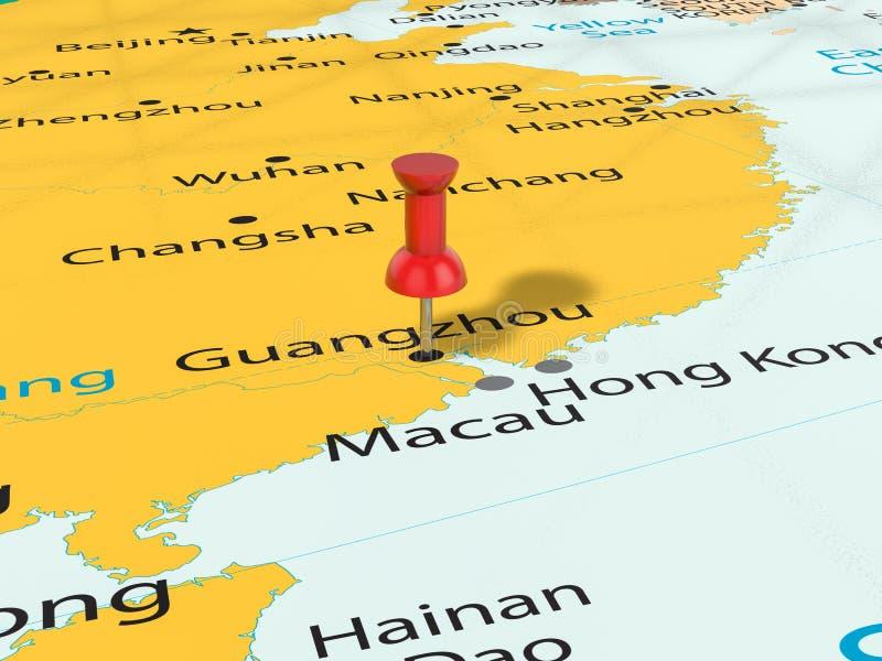 Punaise op Guangzhou-kaart vector illustratie