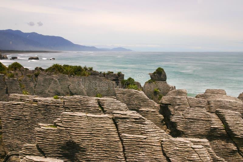 Punakaiki eller pannkakan vaggar, västkusten, Nya Zeeland fotografering för bildbyråer