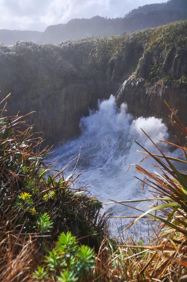 Download Punakaiki, Pancake Rocks Blow Hole, New Zealand Stock Image - Image: 20745873