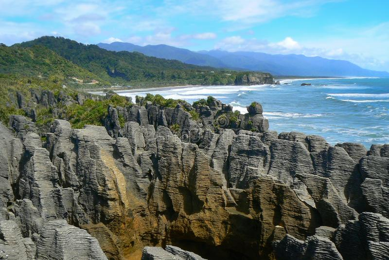 Punakaiki Pancake Rocks and Blowholes, Paparoa National Park, New Zealand. Punakaiki Pancake Rocks and Blowholes, scenic view over the Tasman Sea and Pacific royalty free stock photo
