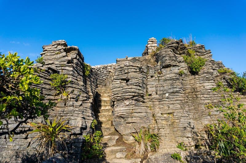 Punakaki, Pancake Rocks in Paparoa National Park royalty free stock image
