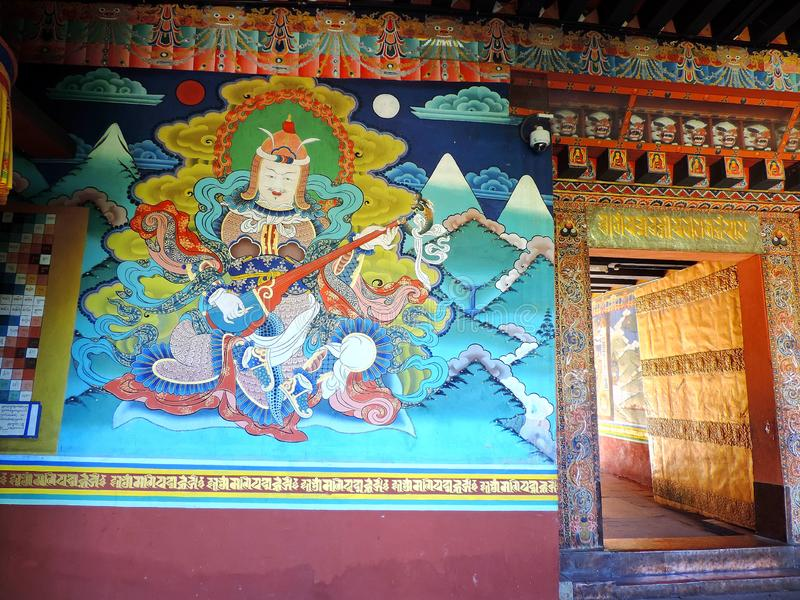 Painting inside Punakha Dzong, Bhutan. The Punakha Dzong, also known as Pungtang Dewa chhenbi Phodrang meaning `the palace of great happiness or bliss`, is the stock photos
