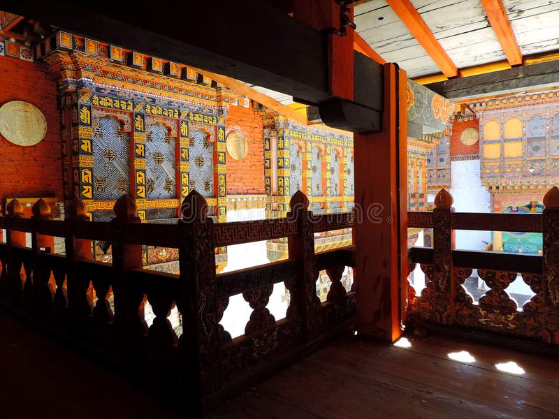 Interiors of Punakha Dzong, Bhutan. The Punakha Dzong, also known as Pungtang Dewa chhenbi Phodrang meaning `the palace of great happiness or bliss`, is the royalty free stock photo