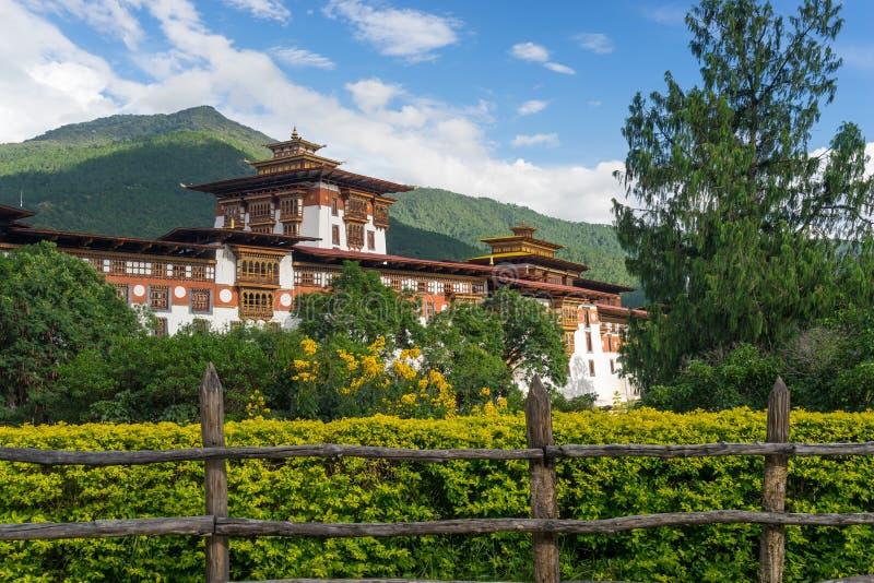 Punakha Dzong, altes Kloster und Markstein von Bhutan lizenzfreies stockbild