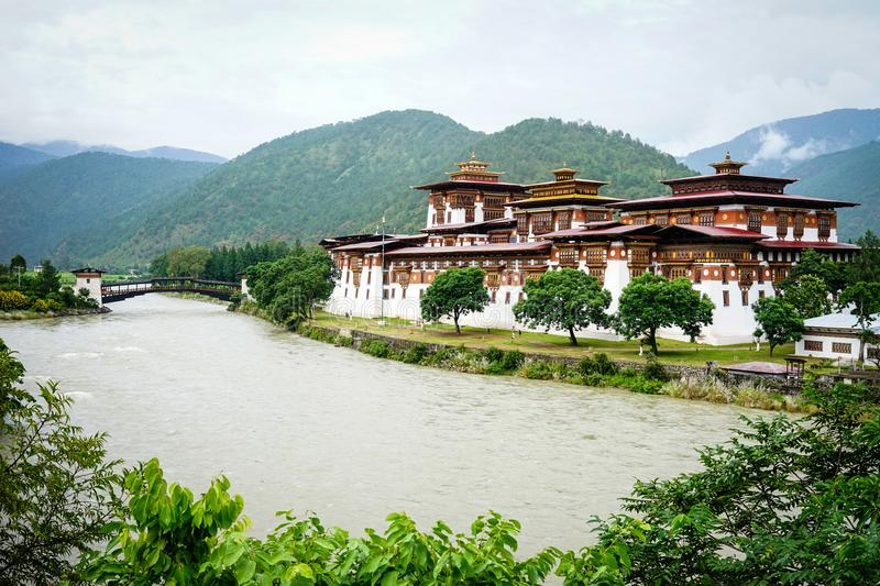 Punakha Dzong in Punakha, Bhutan royalty free stock photography