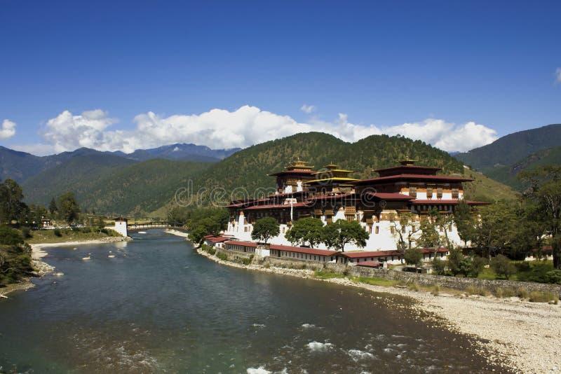 Punakha Kloster Bhutan, Asien stockbilder