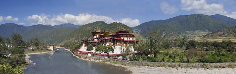 Punakha kloster i Bhutan Asien fotografering för bildbyråer