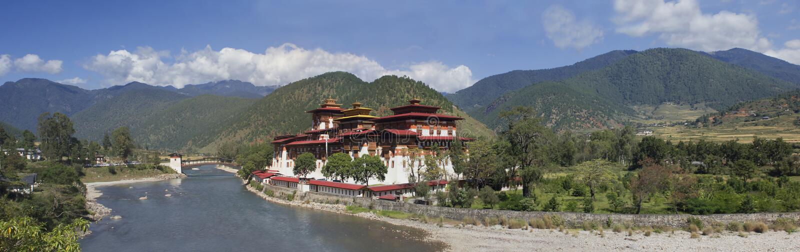 Punakhaklooster in Bhutan Azië stock afbeelding