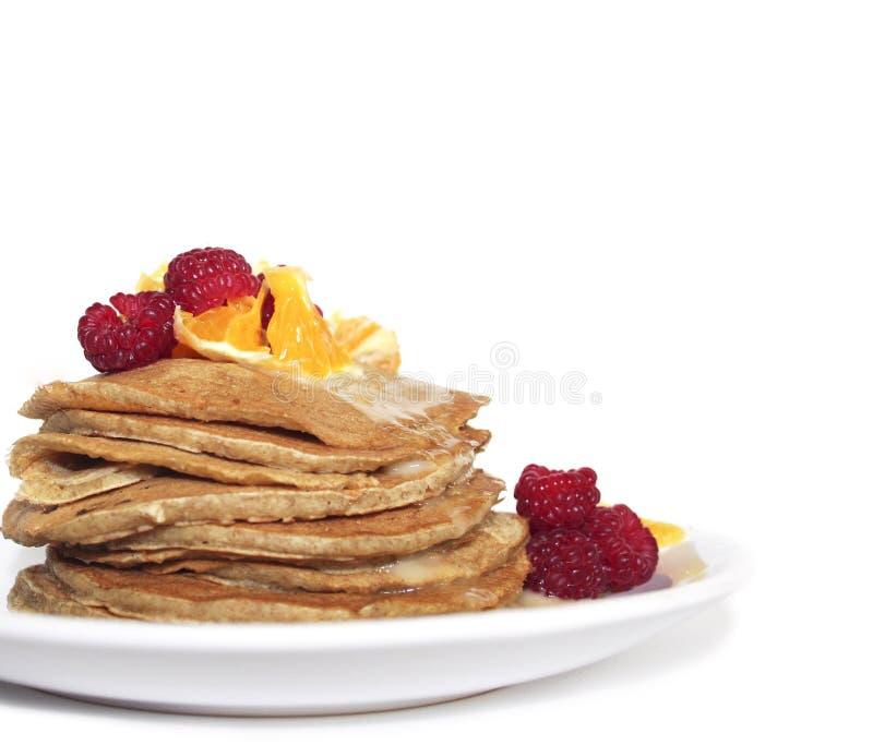 Puncakes met vruchten royalty-vrije stock fotografie