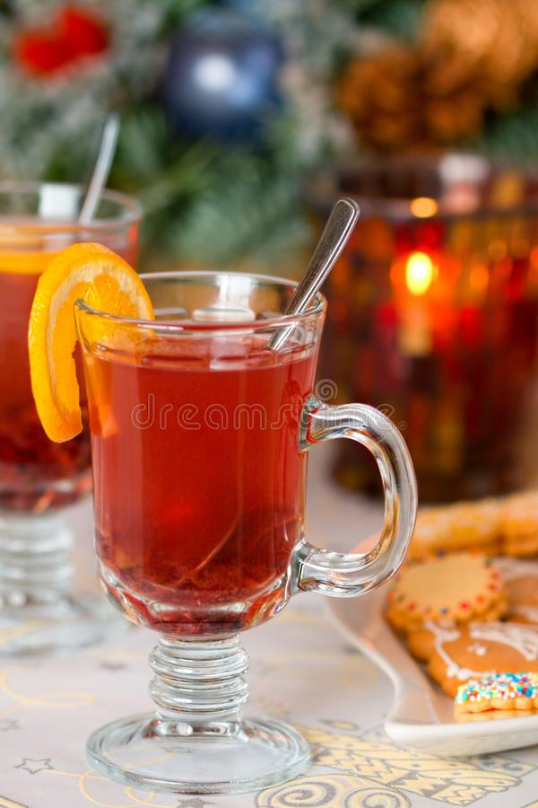 Punch. Hot punch on christmas of table stock photo