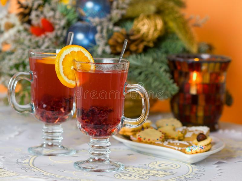 Punch. Hot punch on christmas of table stock images