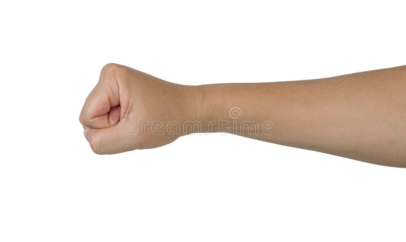 Punch fist of man hand. Isolate on white background stock photography